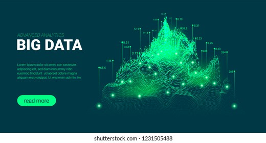 Data Analysis Futuristic Concept. Information Stream Visualization with Light Effect. Representation of Big Data Analysis for Social Network. Landing Page Template with Artificial Intelligence Design.