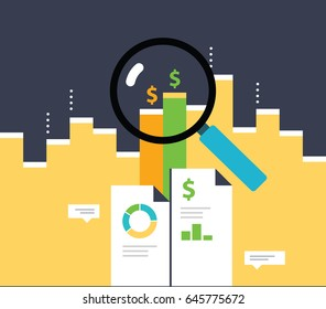 Data Analysis. Growing graph for smart investment. Analytics information.