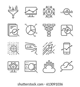 Data Analysis icon set. Included the icons as graph, chart, filter, analyst, research , growth and more.