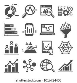 data Analysis Icons Vector, chart , graph
