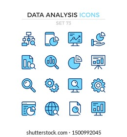 Data analysis icons. Vector line icons set. Premium quality. Simple thin line design. Modern outline symbols collection, pictograms.