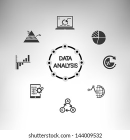 data analysis info graphic, information management icons set