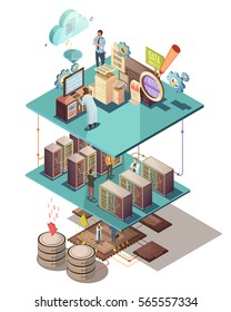 Data analysis isometric concept with electronic equipment information exchange server infrastructure cloud services and staff vector illustration