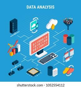 Data analysis isometric flowchart illustrated cloud exchange of digital big data by network technologies vector illustration