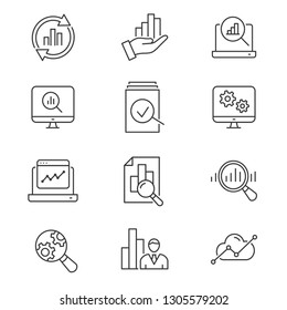 Data analysis line icons. Set of business, research, market, compute, statistic and more. Vector illustration isolated for graphic and web design. Editable stroke.