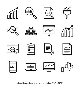 Data analysis line icons set vector illustration. Contains such icon as analytic, chart, graph, growth, traffic, research, statistic and more. Editable stroke