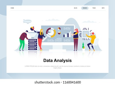 Data analysis modern flat design concept. Analytics and people concept. Landing page template. Conceptual flat vector illustration for web page, website and mobile website.
