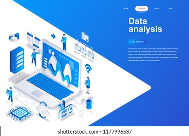 Data analysis modern flat design isometric concept. Analytics and people concept. Landing page template. Conceptual isometric vector illustration for web and graphic design.