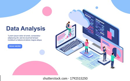 Data analysis modern flat design isometric concept. Analytics and people concept. Landing page template. Conceptual isometric vector illustration for web and graphic design. EPS
