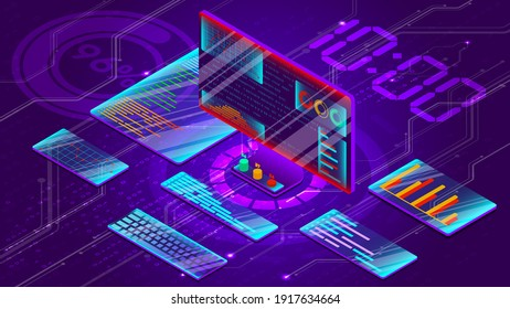 Data analysis on a personal computer. Displays information and graphs on additional screens. Concept of programming applications. The interface of the future. Vector illustration in isometric style.