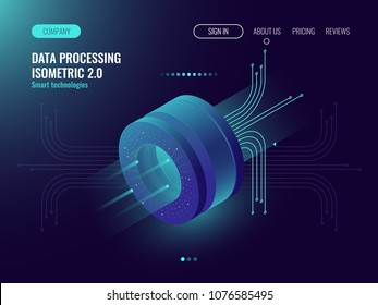 Data analysis processing big data computing, information flow,digital science lab, data center server room concept dark neon isometric vector