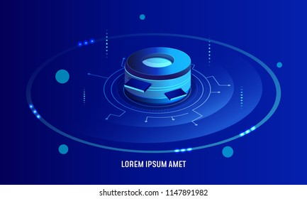 Data analysis processing big data computing, information flow, data center server room concept dark neon isometric vector,  futuristic data prcessing