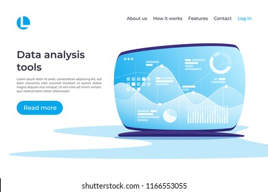 Data analysis, research, planning, statistics, financial management vector concept. Landing page template. Global swatches.
