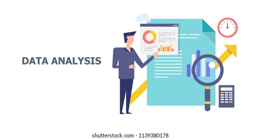 Data analysis, data scientist, big data marketing - flat style vector banner with icons and character