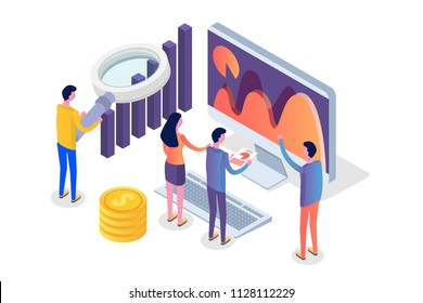 Data analysis, search engine optimization,  site position isometric concept. Vector illustration.
