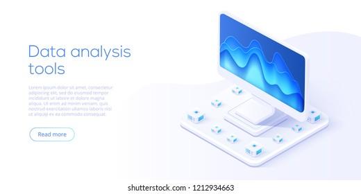 Data analysis server isometric vector illustration. Abstract 3d datacenter or data center room background. Network mainframe infrastructure website header layout.