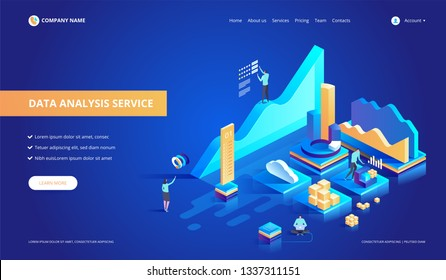 Data analysis service isometric vector illustration. Abstract 3d datacenter or data center room background. Network mainframe infrastructure website header layout.