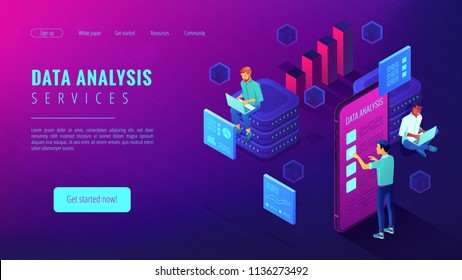 Data analysis services landing page isometric concept. Business anlyst, front end and beck end developers implementing features. Software development on ultraviolet background. Vector 3d illustration.