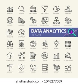 Data analysis, statistics, analytics  - minimal thin line web icon set. Outline icons collection. Simple vector illustration