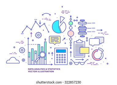 Data Analysis and Statistics Thin Line Flat Style Vector Icons Set. Grpahs, Charts and Diagrams, Cloud Computing, Web Technologies, Data Management and Office Elements Collection.