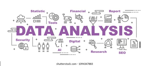 data analysis vector banner design concept, flat style with icons