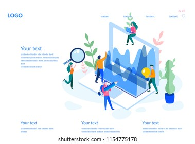 Data Analysis, website analytics Concept for web page, presentation, social media. Vector illustration office workers are studying the infographic, Analysts working, Small people and laptop screen