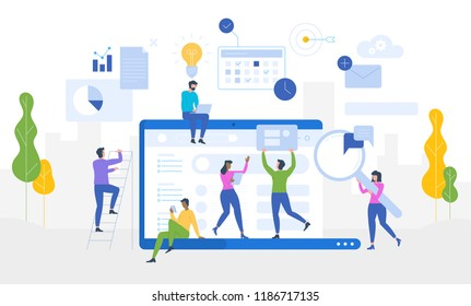 Data Analysis. Website analytics information tools. Vector flat illustration