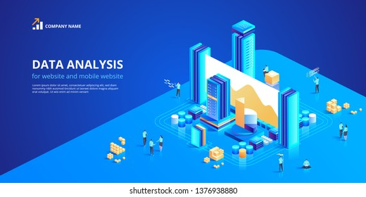 Data Analysis for website and mobile website. Easy to edit and customize. Modern design isometric vector concept illustration