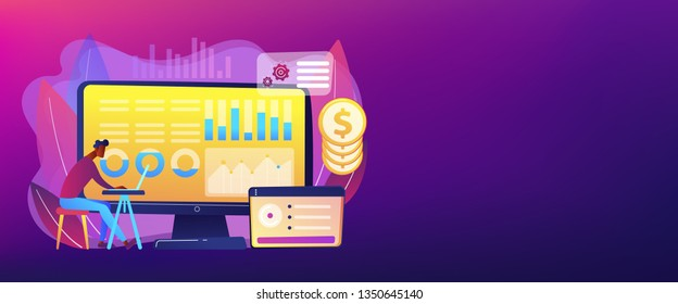 Data analyst consolidating financial information and reports on computer. Financial data management, financial software, digital data report concept. Header or footer banner template with copy space.