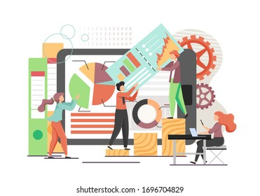 Data analysts, micro male and female characters analysing statistical data of analytics charts on tablet screen, vector flat style design illustration. Business analytics, financial data analysis.