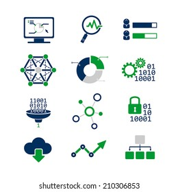 Data analytic icons set