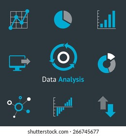 Data analytic icons set. Chart and diagram, infographic and progress. Vector illustration