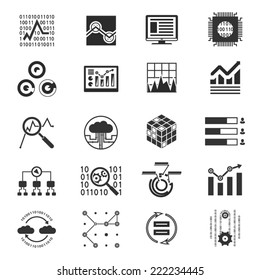 Data analytic silhouette icons