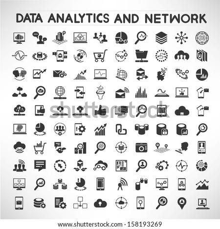 data analytic social network icons set のベクター画像素材