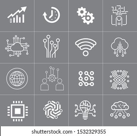 Data analytic, technologies, and social network icons set