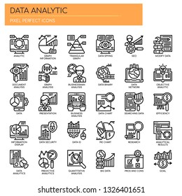 Data Analytic , Thin Line and Pixel Perfect Icons