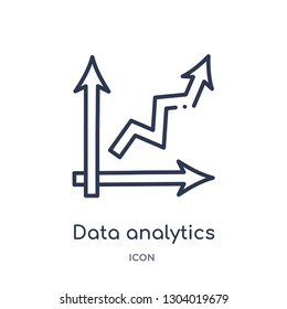 data analytics ascending icon from user interface outline collection. Thin line data analytics ascending icon isolated on white background.