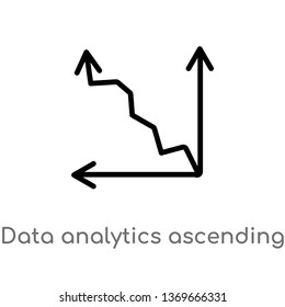 data analytics ascending line chart vector line icon. Simple element illustration. data analytics ascending line chart outline icon from user interface concept. Can be used for web and mobile