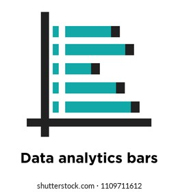 Data analytics bars chart with descendant line icon vector isolated on white background for your web and mobile app design, Data analytics bars chart with descendant line logo concept