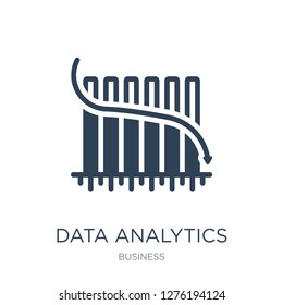 data analytics bars chart with descendant line icon vector on white background, trendy filled icons from Business collection, data analytics bars chart with descendant vector illustration