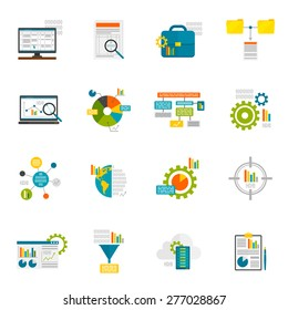 Data analytics computer database structure information analysis flat icons set isolated vector illustration