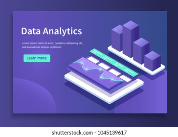 Data analytics concept banner. Can use for web banner, infographics, hero images. Flat isometric vector illustrations with trendy gradients.