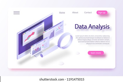 Data analytics concept banner. Modern flat design isometric concept of Data Analysis for website and mobile website. Landing page template. Report on the computer, program of statistics and analytics