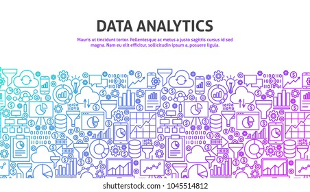 Data Analytics Concept. Vector Illustration of Line Website Design. Banner Template.