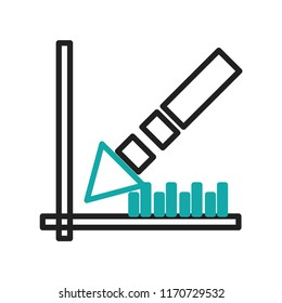 Data analytics descending line graphic icon vector isolated on white background for your web and mobile app design, Data analytics descending line graphic logo concept