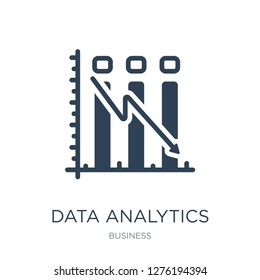 data analytics descending line graphic icon vector on white background, \trendy filled icons from Business collection, data analytics descending vector illustration