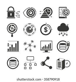 data analytics icons, data processing icons set, data icons vector