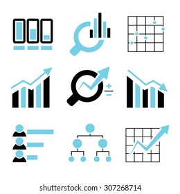 data analytics icons set