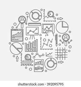 Data analytics illustration - vector round data analysis symbol made with thin line business diagrams and charts signs