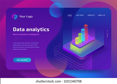 Data analytics isometric composition for website. Vector isometric illustration.